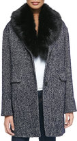 DL2 by Dawn Levy Kaba Tweed Coat W/ Removable Faux-Fur Trim