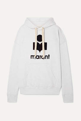 Etoile Isabel Marant Mansel Flocked Cotton-blend Jersey Hoodie - White