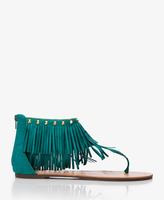 Thumbnail for your product : Forever 21 Faux Suede Fringe Thong Sandals