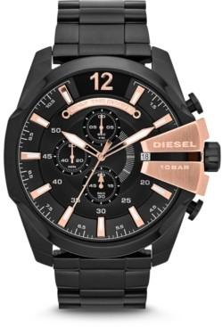 Diesel Men's Chronograph Mega Chief Black Stainless Steel Bracelet Watch 51x59mm