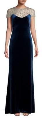 Tadashi Shoji Short-Sleeve Mesh Embellished Velvet Evening Gown