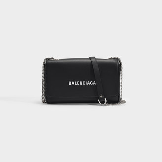 Balenciaga Everyday Wallet On Chain In Black Smooth Calfskin