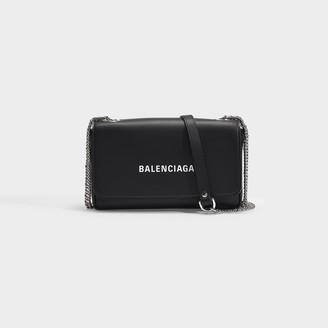 Balenciaga Everyday Wallet On Chain In Black Smooth Calfskin