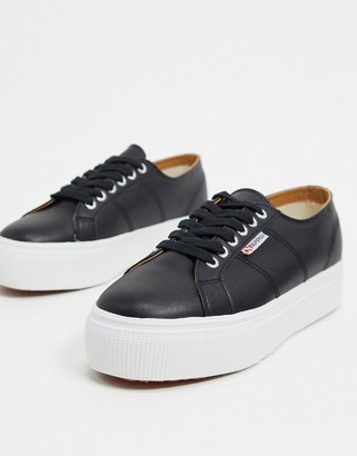 Superga 2790 nappale flatform lace up trainers in black