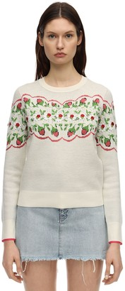 Tory Burch Floral Printed Wool Blend Knit Sweater