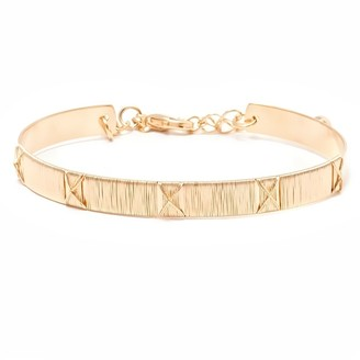 Peermont Jewelry Gold Plated Gold Wired X Bangle Bracelet