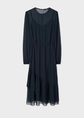Women's Dark Navy Semi-Sheer Dress