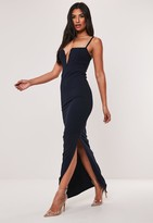 Missguided Navy Strappy Notch Detail Maxi Dress