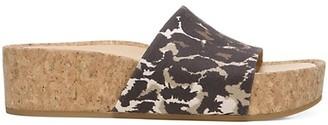 Veronica Beard Dresdyn Leopard-Print Leather & Cork Platform Slides