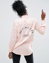 Asos Twill Boyfriend Shirt with Embroidered Slogan Back