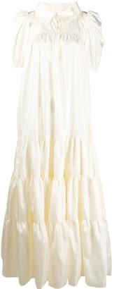 Loulou Puff-Shoulder Tiered Dress