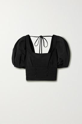 Self-Portrait Ottoman Crochet-trimmed Faille Top - Black