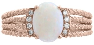 Effy Opal (9/10 ct. t.w.) & Diamond Accent Rope-Look Multi-Row Ring in 14k Rose Gold