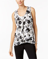 NY Collection Petite Printed Inverted-Pleat Top