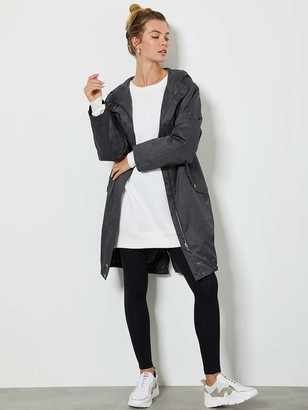 Mint Velvet Metallic Stripe Back Lightweight Parka Jacket - Charcoal