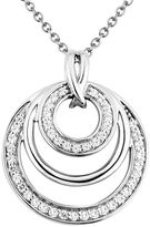 Two Hearts Forever One 1/4 Carat T.W. Diamond Sterling Silver Concentric Circle Pendant Necklace