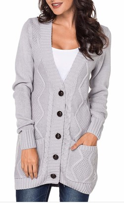 Functionaryb Womens V Neck Long Sleeve Chunky Knit Cardigan Button Down Open Front Sweater with Pockets Light Grey L