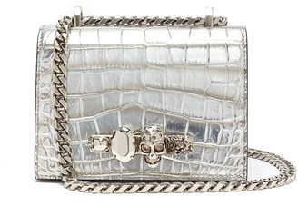 Alexander McQueen 'The small jewelled satchel' in croc embossed leather Swarovski crystal knuckle