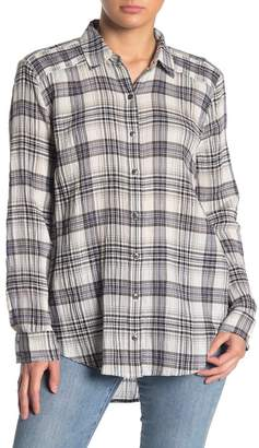 Susina Smocked Front Button Plaid Shirt