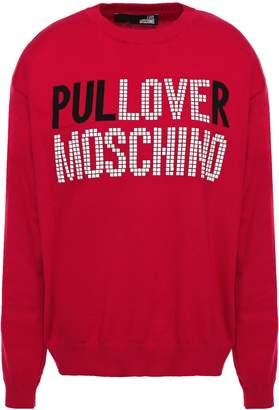 Love Moschino Appliqued Intarsia Cotton Sweater