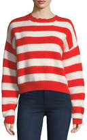 Diane von Furstenberg Striped Crewneck Long-Sleeve Baseball Pullover