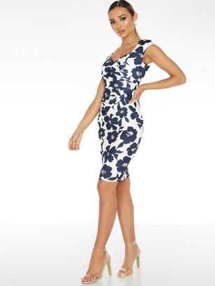 Quiz Scuba Crepe Floral Sleeveless Sweetheart Ruche Midi Dress - Navy Cream