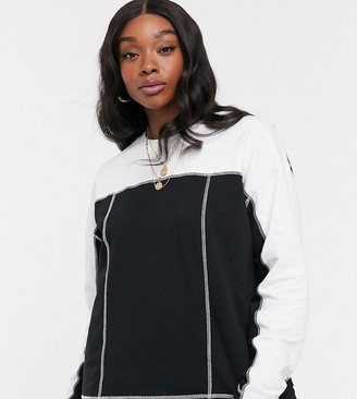 Asos DESIGN Curve sweatshirt in colourblock with flat lock seams