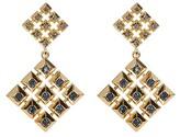 House Of Harlow Blue Rhinestone Embellished Grid Square Drop Stud Earrings