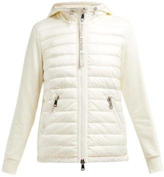 Moncler Quilted-down And Cotton-jersey Jacket - Womens - Cream