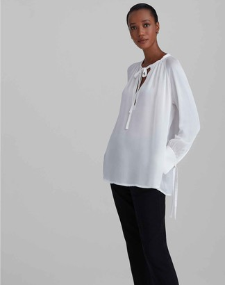 Club Monaco Silk Shirred Blouse