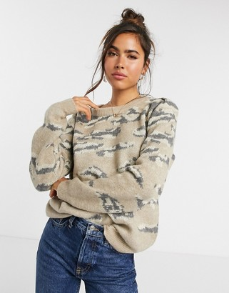 Vila jacquard jumper in animal print
