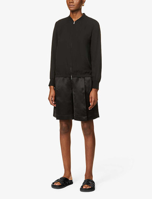 Theory Round-neck silk jacket