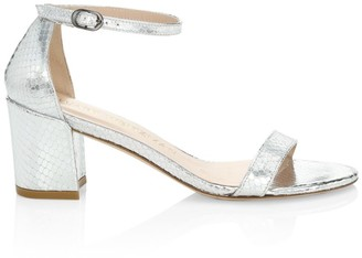 Stuart Weitzman Simple Snakeskin-Embossed Metallic Leather Sandals