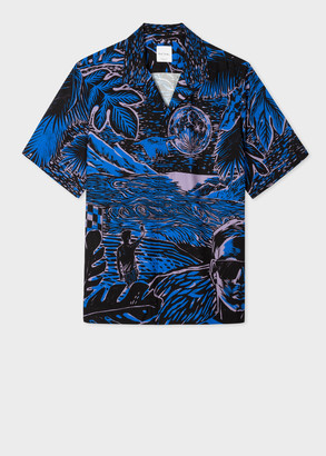 Paul Smith Men's Tailored-Fit Blue 'Chile' Print Short-Sleeve Shirt