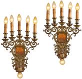Rejuvenation Pair of Monumental 6-Light Candelabra Sconces