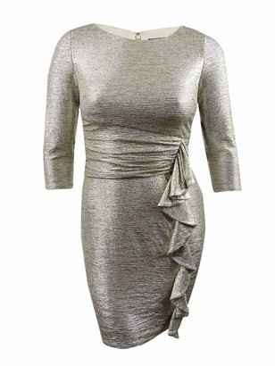 Jessica Howard JessicaHoward Women's 3/4 Sleeve Ruched Waist Sheath Dress Navy/Ivory 10