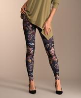 Lbisse Women's Leggings Multi - Purple & Gold Floral Leggings - Women & Plus
