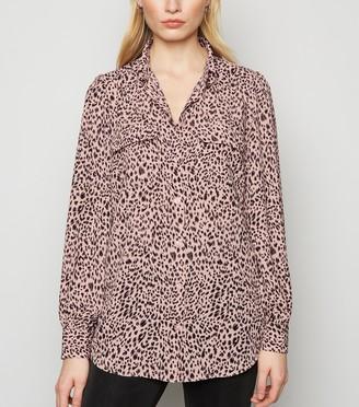 New Look Leopard Print Patch Pocket Shirt