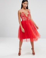 Rare London Tulle Midi Dress With Scallop Lace Bodice