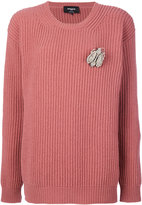 Rochas brooch ribbed crew neck sweater - women - Virgin Wool - 38