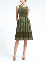 Banana Republic Crochet Lace Fit-and-Flare Dress