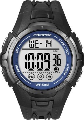 Timex Marathon by Men's T5K359 Digital Full-Size Black/Blue Resin Strap Watch