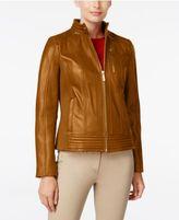 MICHAEL Michael Kors Ribbed Leather Jacket