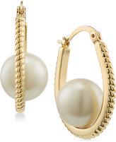 Carolee Gold-Tone Imitation Pearl Rope-Texture Hoop Earrings