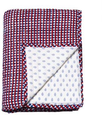 Le Petit Lucas Du Tertre - Cotton Reversible Quilted Plaid Bed Cover - cotton | Plane Whiteground