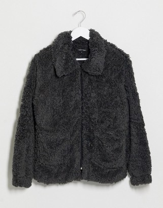 I SAW IT FIRST zip front teddy jacket in grey