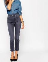 Asos Farleigh Slim Mom Jeans In Walnut Gray Wash