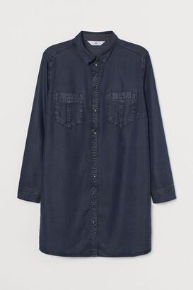 H&M H&M+ Lyocell Shirt Dress - Blue