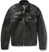 Jean Shop Full-grain Leather Café Racer Jacket - Black