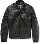 Jean Shop Full-Grain Leather Café Racer Jacket